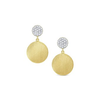 Round Diamond Disc Tag Earrings Set in 14 Kt. Gold