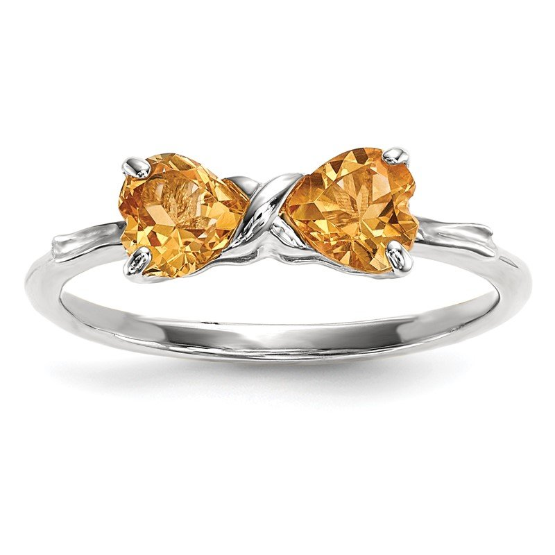 JC Sipe Essentials 14k White Gold Polished Citrine Bow Ring