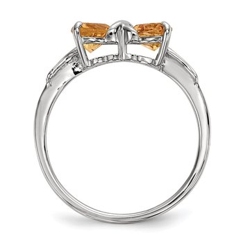 14k White Gold Polished Citrine Bow Ring