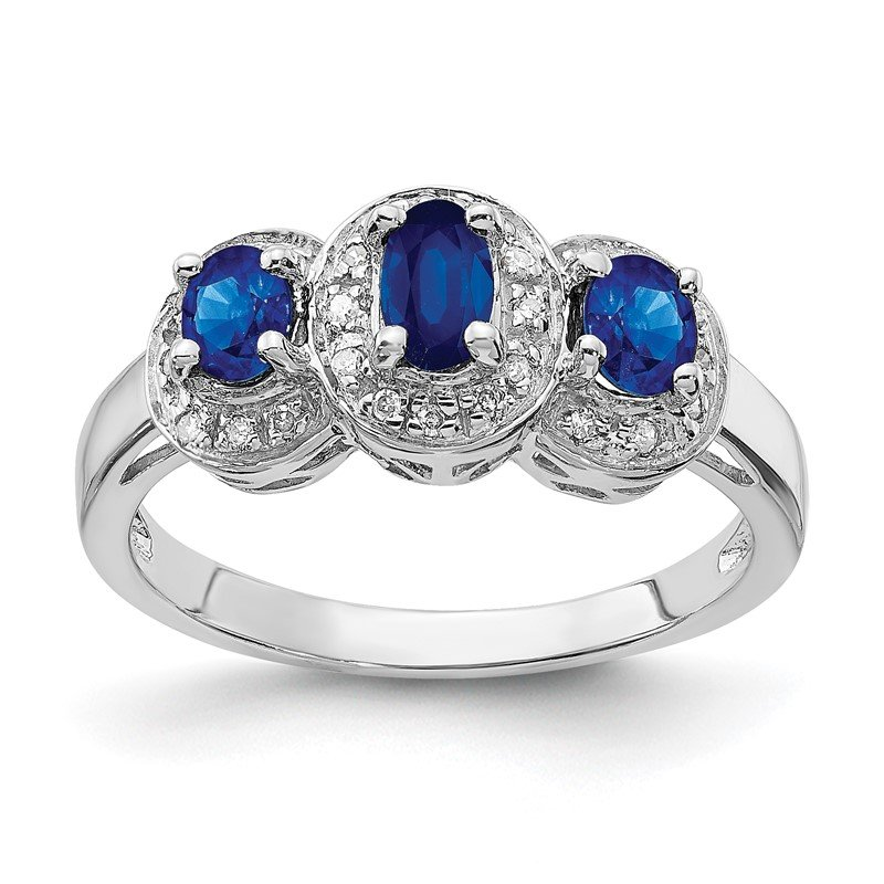 Quality Gold Sterling Silver Rhodium-plated Sapphire & Diamond Ring