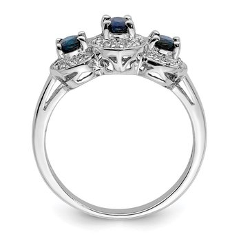 Sterling Silver Rhodium-plated Sapphire & Diamond Ring