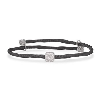 Flex Bracelet with Square Diamond Station set in 18kt White Gold
