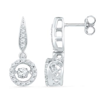 10kt White Gold Womens Round Diamond Circle Frame Moving Twinkle Solitaire Dangle Earrings 5/8 Cttw