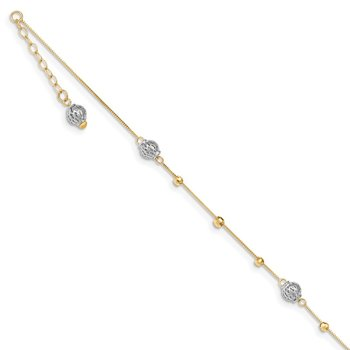 14k Two-tone Beads 9in Plus 1in ext. Anklet