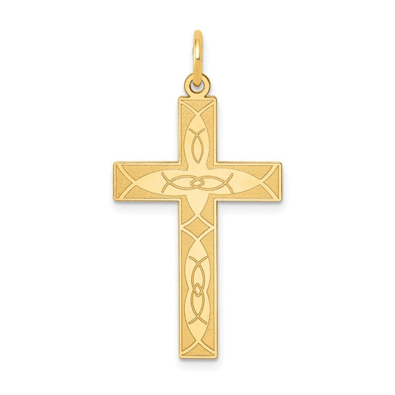Quality Gold 14K Laser Designed Ichthus Cross Pendant