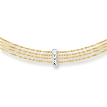 Yellow Cable 4 Row Choker Necklace with 18kt White Gold & Diamonds