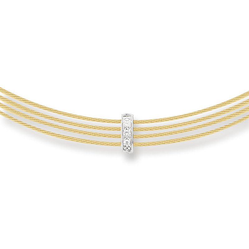 ALOR Yellow Cable 4 Row Choker Necklace with 18kt White Gold & Diamonds