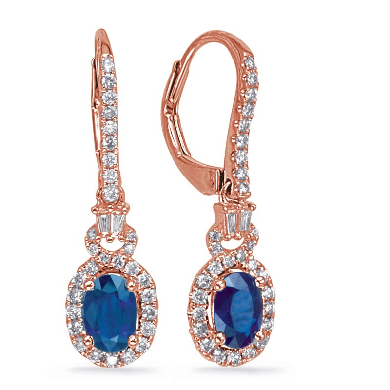 S. Kashi  & Sons Rose Gold Sapphire & Diamond Earring