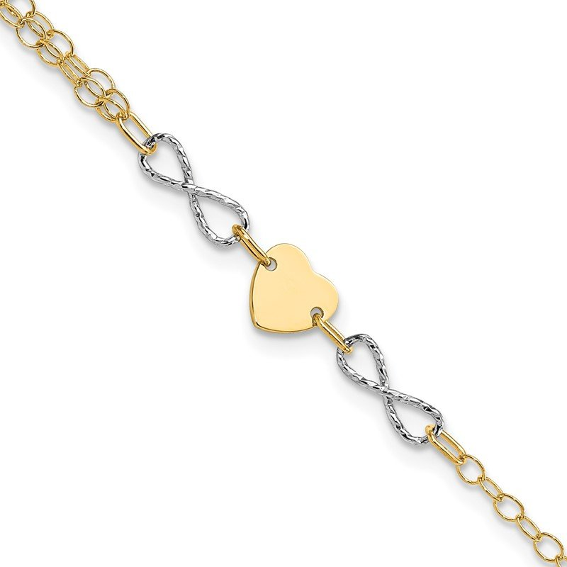 Quality Gold 14k Two-tone Gold Polished Infinity and Heart Bracelet