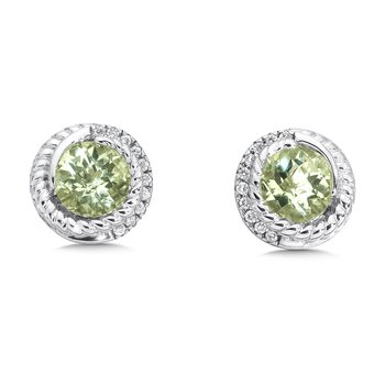 Sterling silver, green amethyst and white diamond earrings