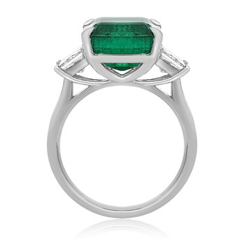 Platinum Princess Cut Emerald Ring