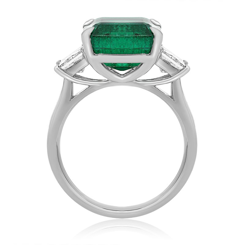 Roman & Jules Platinum Princess Cut Emerald Ring