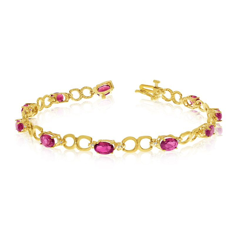 Color Merchants 10K Yellow Gold Oval Ruby and Diamond Bracelet