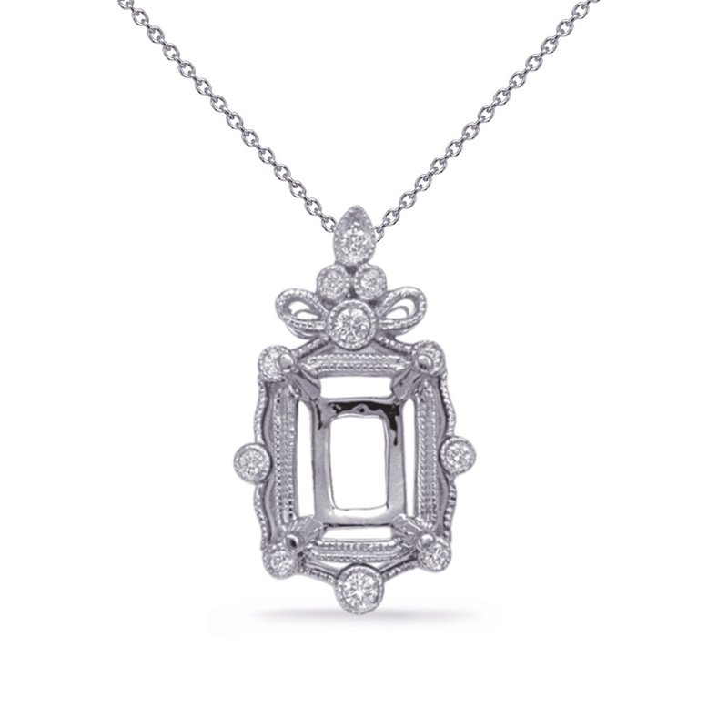 S. Kashi  & Sons White Gold Diamond Pendant 6x4 EC Cente