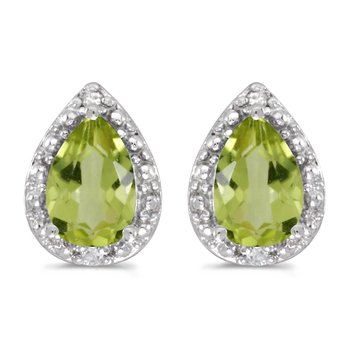 10k White Gold Pear Peridot And Diamond Earrings