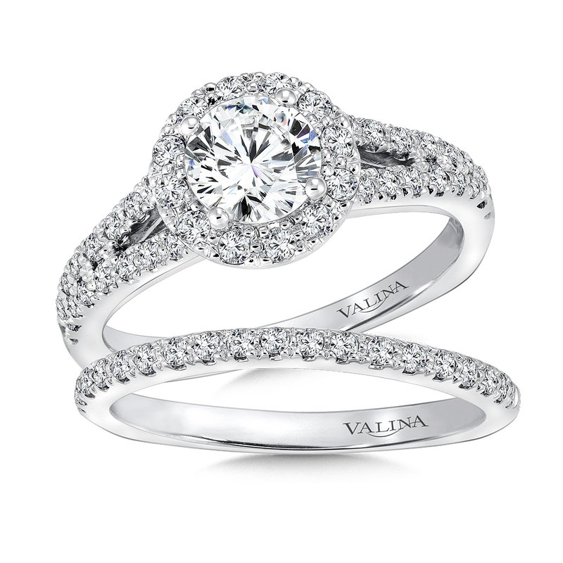 Valina Round halo mounting  .45 ct. tw.,  3/4 ct. round center.