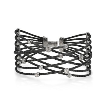 Black Cable Constellation Bracelet with 18kt White Gold & Diamonds