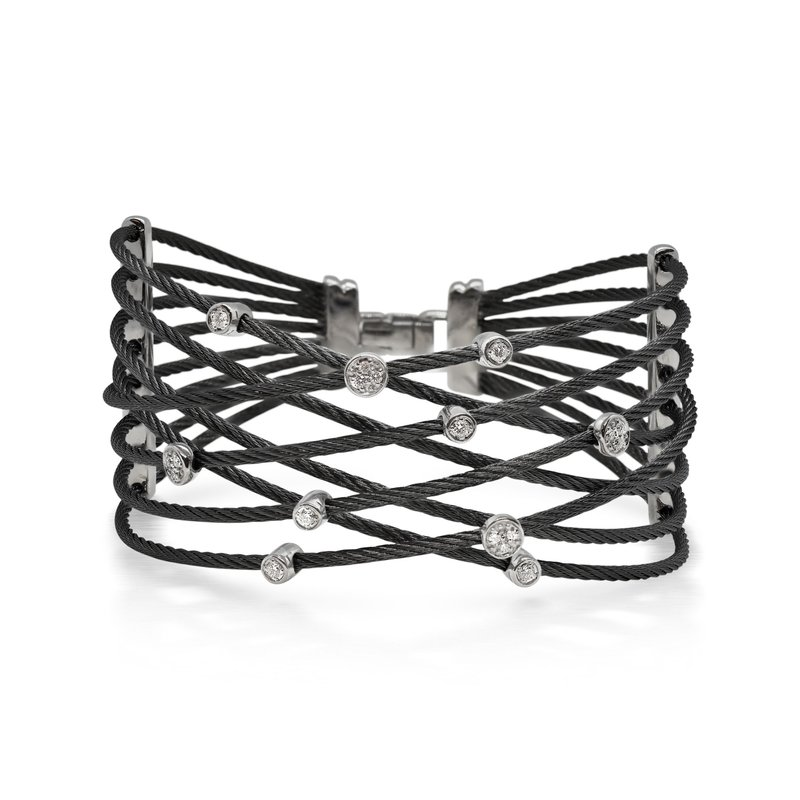 ALOR Black Cable Constellation Bracelet with 18kt White Gold & Diamonds