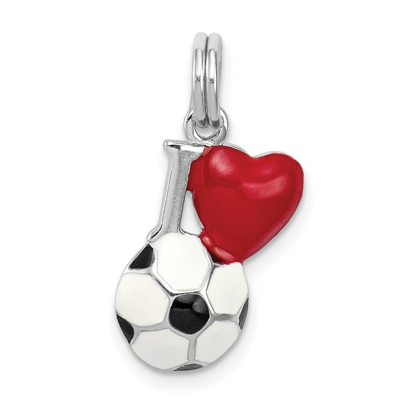 J.F. Kruse Signature Collection Sterling Silver Rhodium-platedEnamel I Heart Soccer Ball Charm