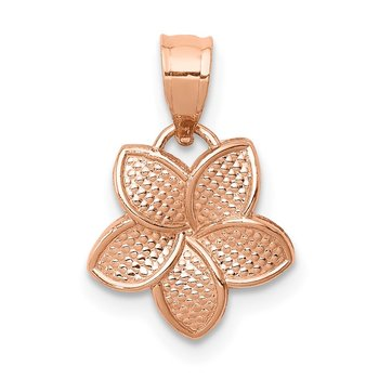 14K Rose Polished Mini Plumeria Pendant