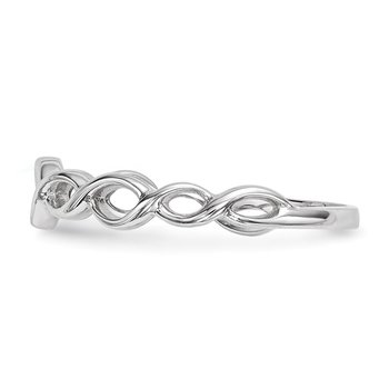 14k White Gold Polished Twisted Loops Ring
