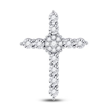 14kt White Gold Womens Round Diamond Roman Cross Faith Cluster Pendant 1/4 Cttw