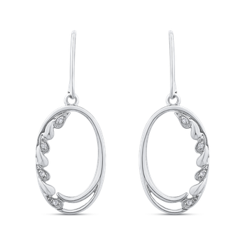 10K White Gold .04 Ct Diamond Fashion Earrings