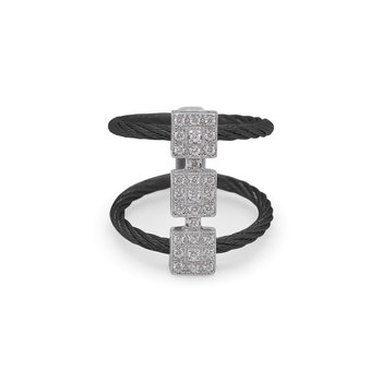 Black Cable Reflections Triple Vertical Ring with 18kt White Gold & Diamonds