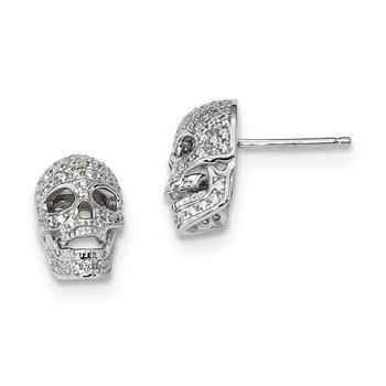Sterling Silver Brilliant Embers Rhodium-pl CZ Polished Skull Post Earrings