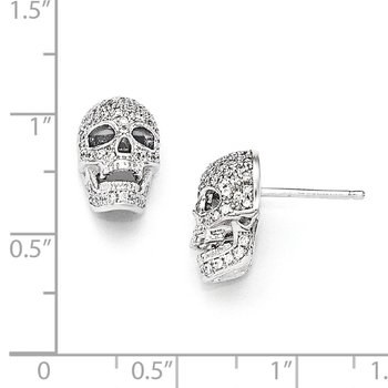 SS Rhodium-Plated CZ Brilliant Embers Polished Skull Post Earrings