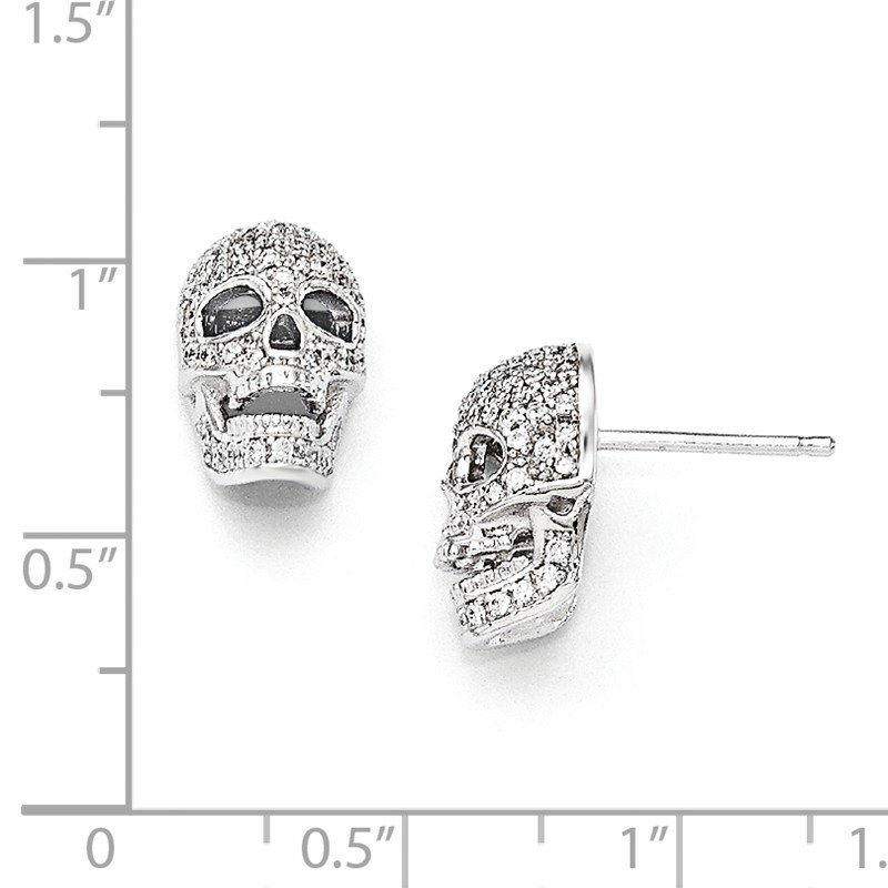 Quality Gold Sterling Silver Brilliant Embers Rhodium-pl CZ Polished Skull Post Earrings