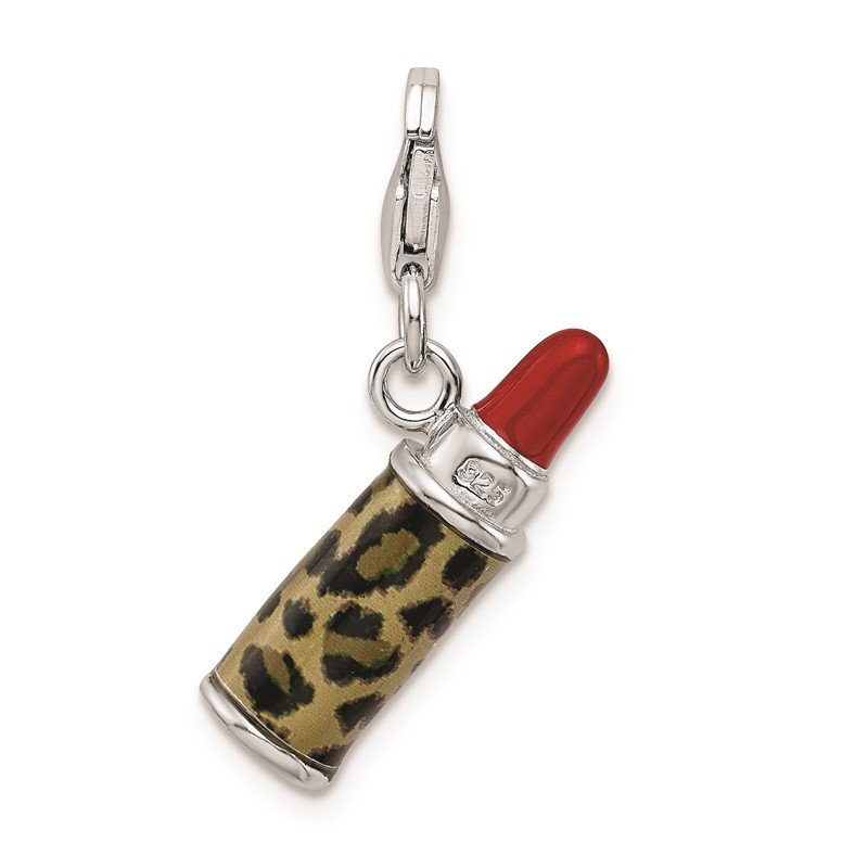 Quality Gold SS RH Enameled 3-D Leopard Lipstick w/Lobster Clasp Charm