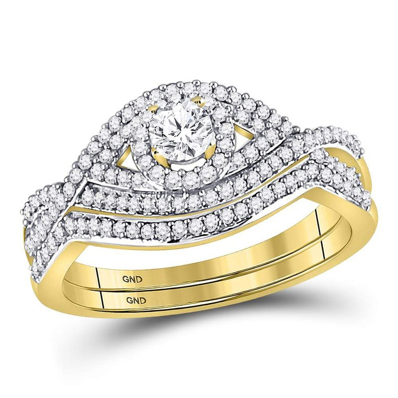 Gold-N-Diamonds, Inc. (Atlanta) 10kt Yellow Gold Womens Round Diamond Twist Bridal Wedding Engagement Ring Band Set 1/2 Cttw