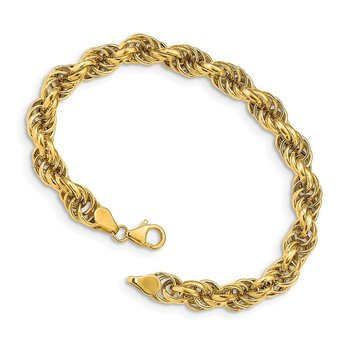 14k Fancy 7mm Rope Bracelet