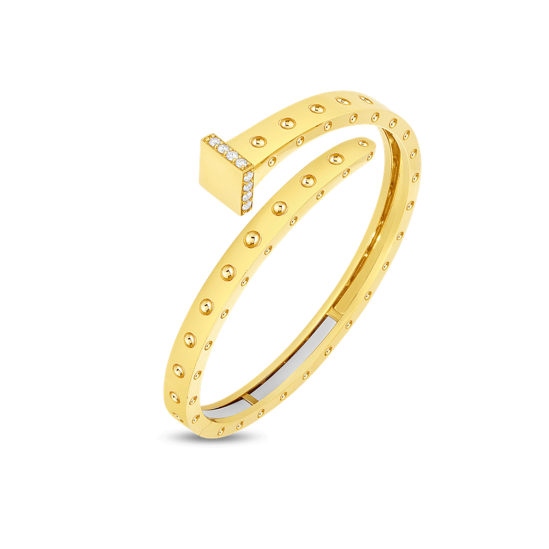Roberto Coin 18KT GOLD WIDE CHIODO BANGLE WITH DIAMONDS