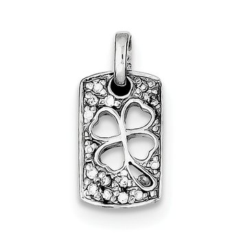 Sterling Silver Rhodium Plated Lucky CZ Shamrock Charm