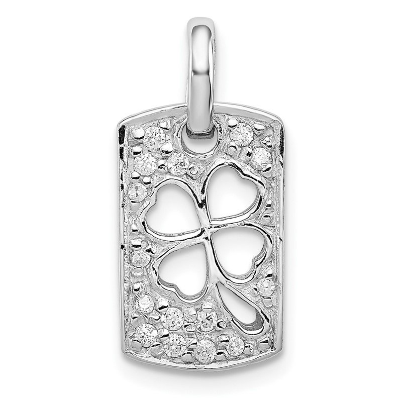 Quality Gold Sterling Silver Rhodium Plated Lucky CZ Shamrock Charm