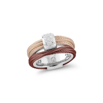 Burgundy & Carnation Cable Small Simple Stack Ring with 18kt White Gold & Diamonds