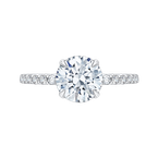 Round Diamond Engagement Ring In 18K White Gold (Semi-Mount)