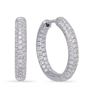 White Gold Hoop Earring Pave