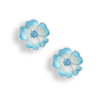 Blue Floral Stud Earrings.Sterling Silver-Blue Topaz