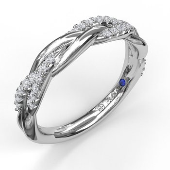 1/2 Braided and High Polish Diamond Band