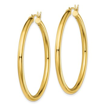 Sterling Silver Gold-Tone Polished 3x45mm Hoop Earrings
