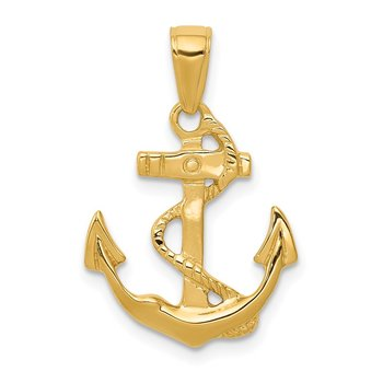 14k Solid Polished Anchor Pendant
