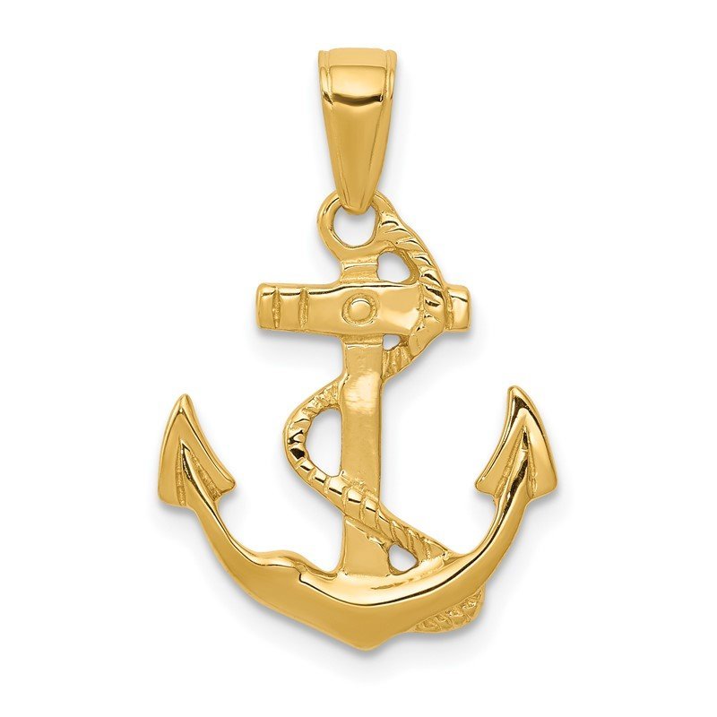 Quality Gold 14k Solid Polished Anchor Pendant
