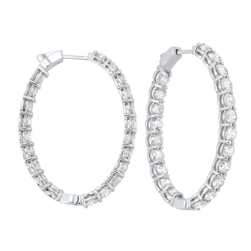Calvin Broyles In-Out Diamond Hoop Earrings in 14K White Gold (10 ct. tw.) I2/I3 - H/K