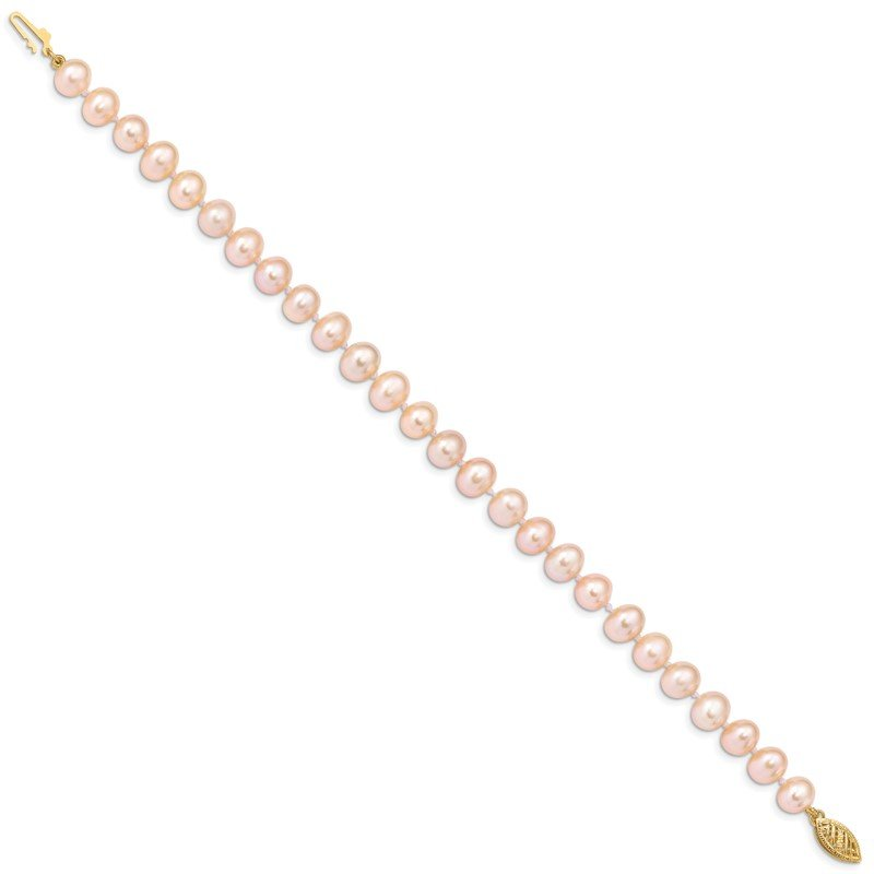 Quality Gold 14k 7-8mm Pink Near Round Freshwater Cultured Pearl Necklace