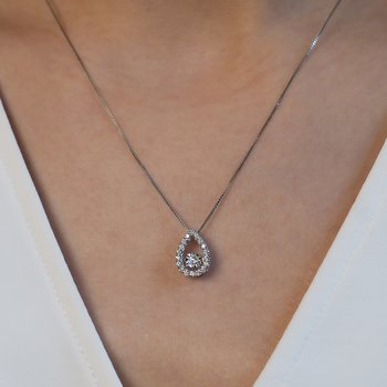 Oval-Shaped Shimmering Diamond Pendant