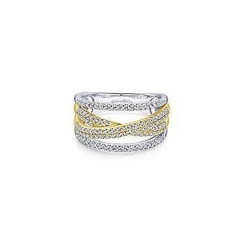 14K Yellow and White Gold Criss Crossing Multi Row Ring