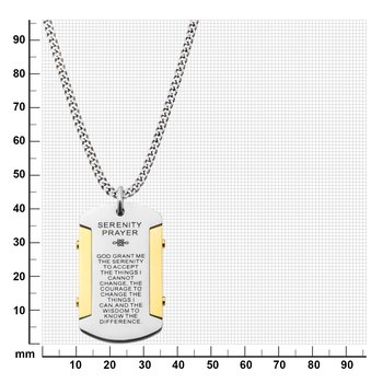 Gold Plated & Steel Etched with Serenity Prayer Dog Tag Pendant